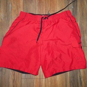 Vintage Speedo Large Men's Swim Trunks Red